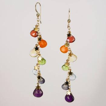 Rainbow Briolette Cascade Earrings